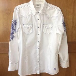 Ariat White Iris Western Snap Shirt SZ XL